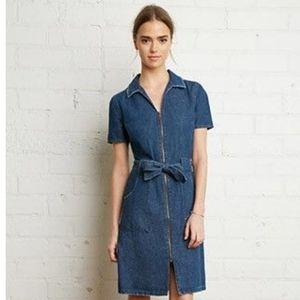 jean zipper front bodycon midi dress
